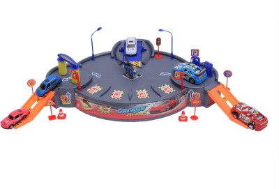 HAPPY KIDS Garage Playset With Cars And Helicopter