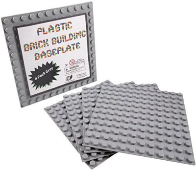 Cornucopia Brands LEGO Duplo Compatible Gray Baseplate (4 Pack)-7.5