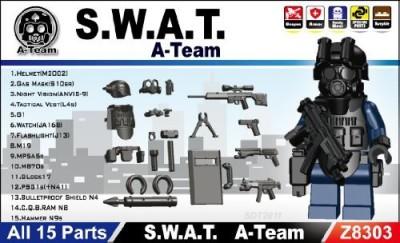 Minifig.Cat Swat Team Mini Gear Packblack