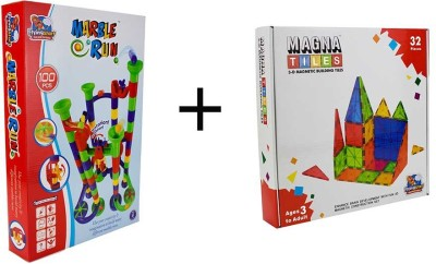 Flying Start Magna Tiles 32 pcs + Marble Run100 pcs combo