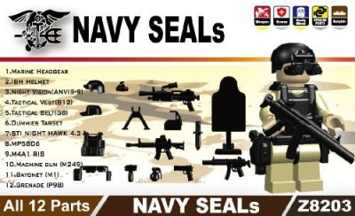 miniBIGS Navy Seals Gear Pack In Black (12 Pieces) Lego Compatible
