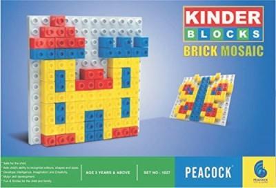 Peacock kinder blocks brick mosaic