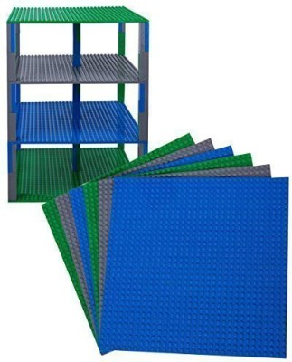 Strictly Briks Premium Blue, Green, and Gray Stackable Base Plates - 6 Pack 10