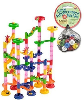 Mega Fun Marble Run 75 Piece Set +30 Marbles (Total 105 Pc Set!)