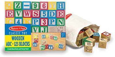 Melissa & Doug Deluxe 50-piece Wooden ABC/123 Blocks Set (colors may vary)