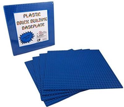 Cornucopia Brands Blue Plastic Brick Building Base Plate (4 Pack) Large