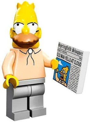 The Simpsons Lego Collectiable Mini Grampa Gandpa With Newspaper (71005)