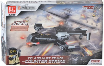 Planet of Toys 342 Pieces Blocks Set - 2 Variants - Falcon Helicopter and Tank