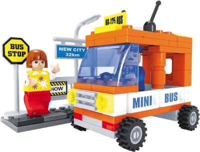 Funblox 93pcs City Blocks-Mini Bus With Woman