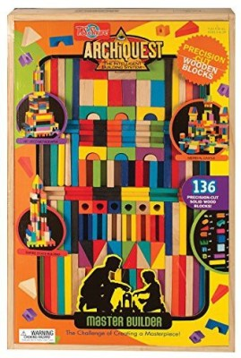 T.S. Shure ArchiQuest Master Builder Wooden Building Blocks Set (136-Piece)