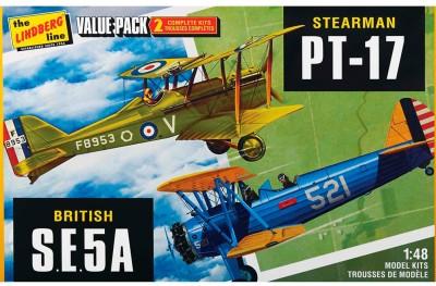 Lindberg USA 1/48 Scale Stearman PT-17 and British S.E.5A Value Pack Plastic Model Kit