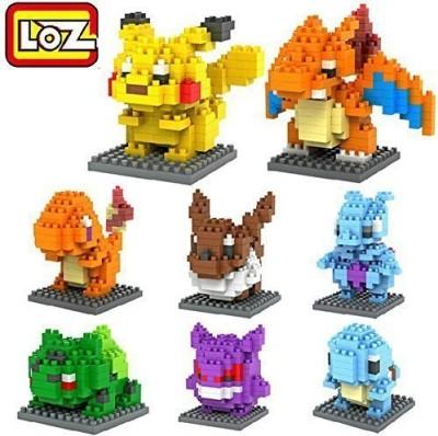 LOZ 8box Diamond Block Pokemon Pikachu Squirtle Bulbasaur Eevee Bulbasaur Charizard