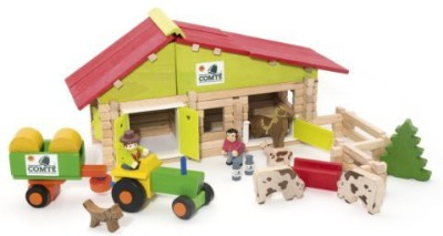 Vilac Jeujura 140 Pieces Wooden Construction Farm in Suitcase