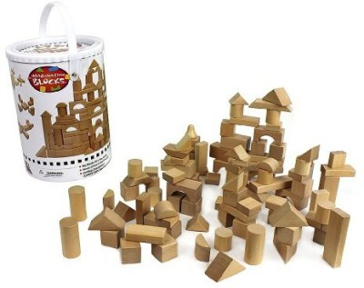 Right Track Toys Wooden Blocks - 100 Pc Wood Building Block Set with Carrying Bag and Container (Natural Colored) - 100% Real Wood