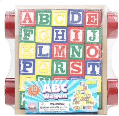 NM 30 Piece ABC Stack N, Build Wagon Blocks with Learning Pictures Kids Toy