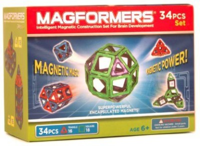 Magformers magnetic magic building set red/blue 34 piece