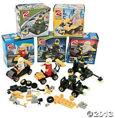 Top Bright 6 Mini BUILDING Block Vehicle Sets/RACE Car/JEEP/Construction, etc/Party FAVOR/STOCKING STUFFERS/Motor Skills