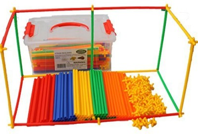 Smart Builder Toys Straw 400 pcs set with FREE plastic container