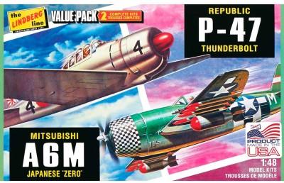 Lindberg USA 1/48 Scale Republic P-47 Thunderbolt and Mitsubishi A6M Japanese