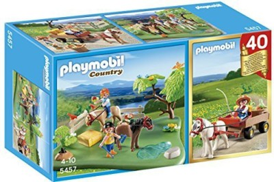 PLAYMOBIL 40Th Anniversary Pony Pasture Compact Set And Pony Wagon