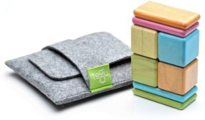Tegu 8 Piece Pocket Pouch Magnetic Wooden Block Set, Tints