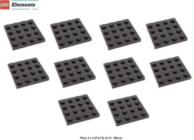 Parts - Plates Lego Parts Plate 4 X 4 (Pack Of 10 Black)