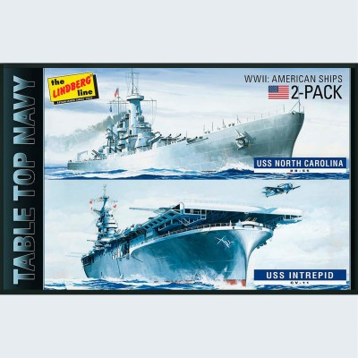 Lindberg USA 1/1200 Scale 2 Pack Table Top Navy Ships Plastic Model Kit(Multicolor)