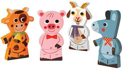 Janod Farm Animals Chunky Wooden Funny Magnets
