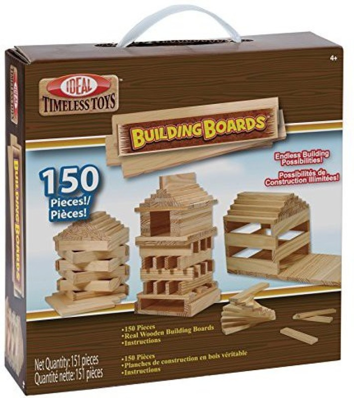 Ideal Building Boards 150 Piece Classic Wood Construction Set(Brown)