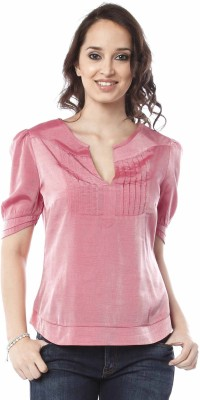 Miss Pink V-Neck Women's Blouse