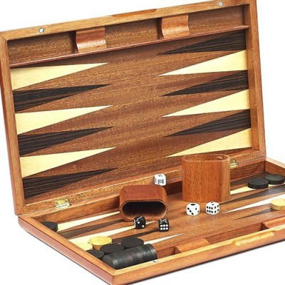 Bello Games New York, Inc. Gramercy Park Deluxe Wooden Walnut Backgammon Set 19 3/4