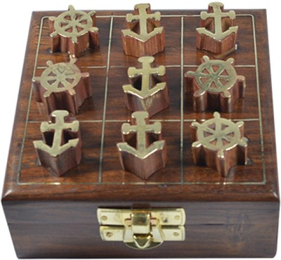 Craftuno Handcrafted Wooden Tic Tac Toe Board Game