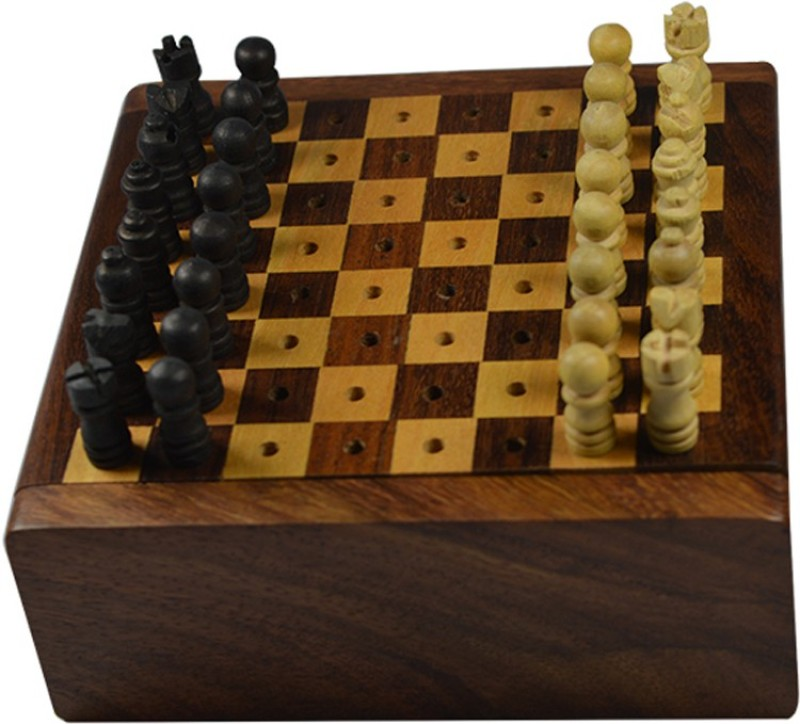 Craftuno Handcrafted Wooden 1.5 inch Chess Board(Brown)