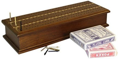 Worldwise Imports Inlaid Cribbage Box With Cards Board Game