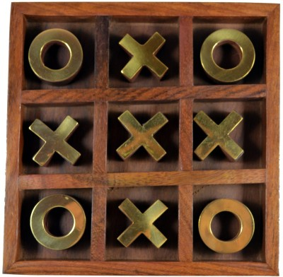 Craftuno Handcrafted Wooden Tic Tac Toe In Tray Board Game