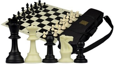 Yellow Mountain Imports Tournament Rollup Staunton Chess Set W/ Travel Canvas Bag Board Game