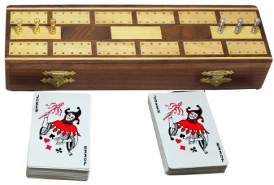 RoyaltyRoute Wooden Cribbage 2 Playing Cards Deck 6 Metal Cribbage Pegs Board Game