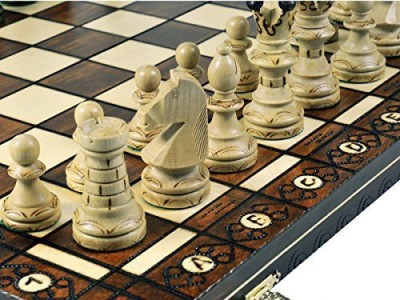 WEKAM Woodburning Wooden Chess Set 21X21 Inches Board Game