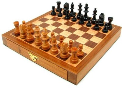 Trademark Games Elegant Inlaid Wood Cabinet With Staunton Wood Chessmenbrown Board Game