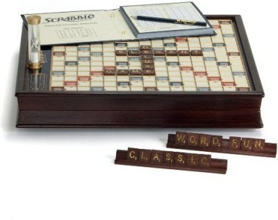 Winning Solutions Scrabble Deluxe Wooden Edition With Rotating Board Game