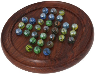 Crafts,man Wooden Solitaire Puzzles with Marbles (9 Inch) Perfect KID Board Game