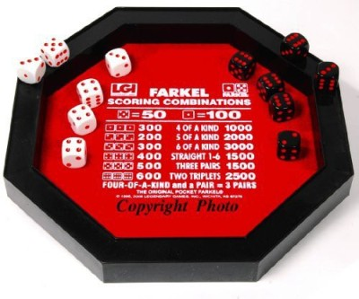 Deluxe Games and Puzzles Farkel Set With Dice Rolling Tray Board Game