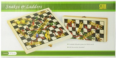CHH Games Folding Wooden Snakes And Ladders Board Game