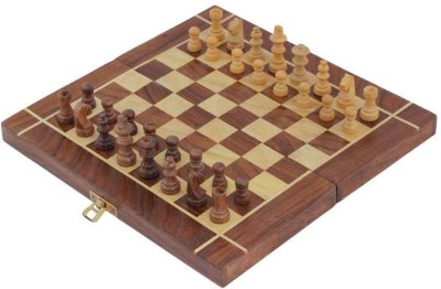 Craft Art India Wooden Folding Non- Magnetic Chess with Storage Of Pieces Set 12 x 12 inches Board Game