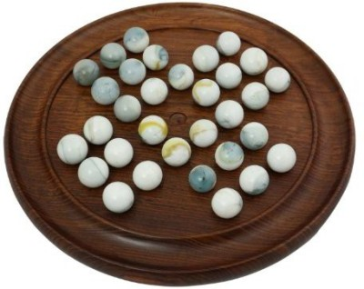 RoyaltyRoute Solid Wood Solitaire With White Glass Marbles Dia 9 Inches Board Game