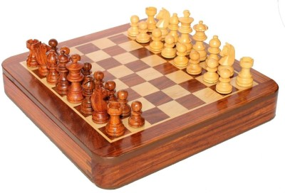 Crafts,man 10 Inch- A Beautiful Wooden Square Magnetic Chess with Storage for Kids. WIth Lycra Polish Board Game