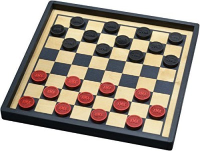 Maple Landmark Train Checkers With Premium Board Game
