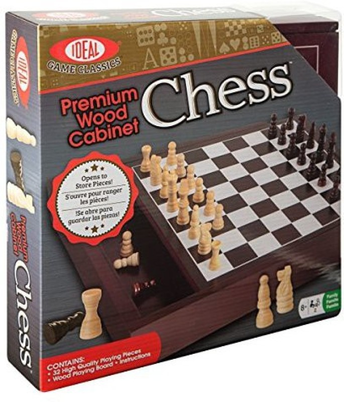 Ideal Premium Wood Cabinet Chess Board Game