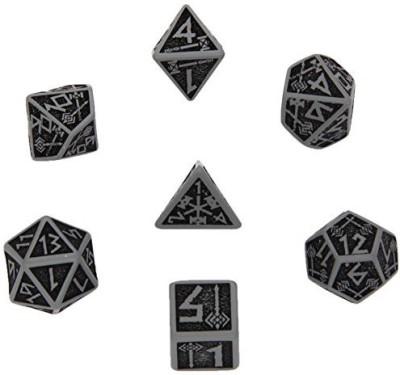 Q Workshop Dwarven Dice Gray/Black (7) Board Game