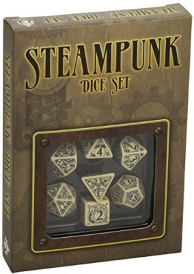 Q Workshop Steampunk Dice Beige/Black (7 Stk) Board Game